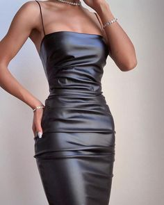 PU Solid Spaghetti Strap Bodycon Ruched Dress - Women's style: Patterns of sustainability Glamouröse Outfits, Bodycon Outfits, Classy Outfits, Trendy Outfits, Bodycon Clothes, Black Bodycon Dress, Party Outfits, Dress Clothes, Looks Chic