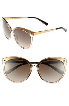 $435, Brown and Gold Sunglasses: Dior Frozen Sunglasses Tortoise Gold One Size. Sold by Nordstrom. Click for more info: https://lookastic.com/women/shop_items/117522/redirect