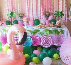 We just adore how @aglitterparty  Girls Night Flamingle party turned  out! Shop this look, click the link. #regram #flamingle #girlsnight #tropicalpartyideas #girlpartyideas #partydecor #orientaltrading