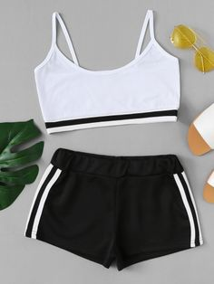 Contrast Hem Crop Cami With Striped ShortsFor Women-romwe Cute Lazy Outfits, Sporty Outfits, Classy Outfits, Pretty Outfits, Summer Outfits, Girls Fashion Clothes, Teen Fashion Outfits, Girl Outfits, Pajama Outfits