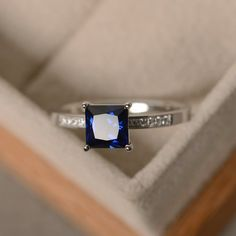 Sapphire ring princess cut sapphire engagement ring by LuoJewelry