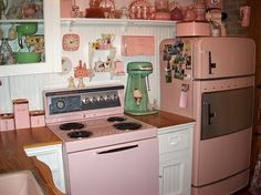 pink Cottage Style Kitchens   Source: indulgy.com via Wendy on Pinterest