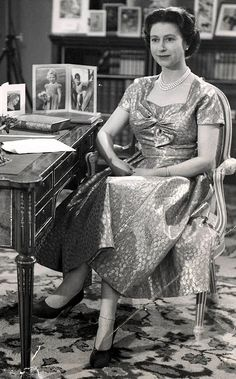 Her Majesty Queen Elizabeth II making her first televised Christmas message in 1952 from Sandringham.