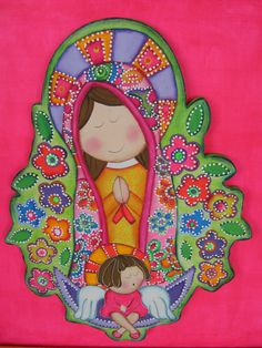 Virgencita by Judy Nava Religious Paintings, Religious Art, Tole Painting, Painting On Wood, Diy Angels, Coat Of Many Colors, Arte Country, Country Paintings, Catholic Art