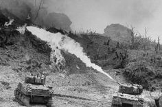 American tanks of the Army Division using specially equipped flame throwers to burn Japanese defenders out of their caves and pillboxes, Okinawa, The Real World, World War Two, Tank Warfare, Regions Of Europe, Army Sergeant, History Online, Ww2 Tanks, Life Pictures, Panzer