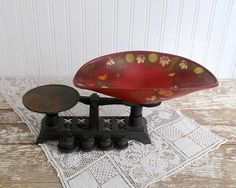 Vintage Cast Iron Scale Hand Painted Kitchen Scale Rustic