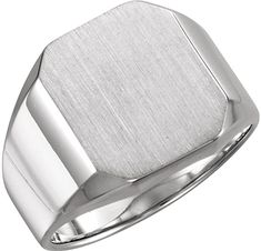 Men's Brushed Satin Signet Ring, Continuum Sterling Silver. #ring #jewelry #SterlingSilver