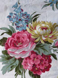1940's Vintage Large Floral Bouquet Chintz Fabric - 4.5 yards. $54.00, via Etsy.