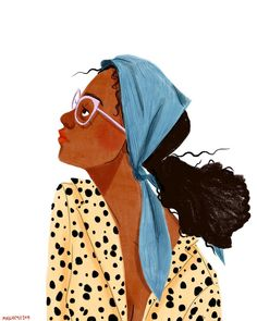 Sick in bed but still obsessed with this color combo and fake crappy leopard print thing I made up once People Illustration, Portrait Illustration, Character Illustration, Black Girl Art, Art Girl, Colorful Drawings, Cute Drawings, Art Sketchbook, Face Art
