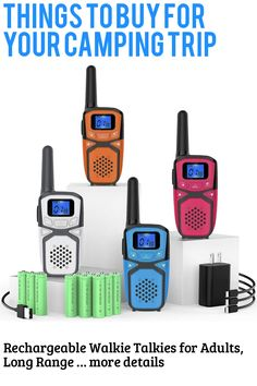 Rechargeable Walkie Talkies for Adults, Long Range Portable FRS Two Way Radios with Batteries Charger 22 Channels, Handheld 2 Way Radios for Adults Camping Hiking Cycling Outdoor Indoor Activities … (This is an affiliate link) #campinggadgets