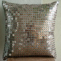 Decorative Throw Pillow Covers 16x16 Inch Accent Silver Metallic Silk Pillow Cover Couch Sofa Pillow Sequins Exotic Lounge Home Living Decor by TheHomeCentric on Etsy https://www.etsy.com/listing/62336895/decorative-throw-pillow-covers-16x16