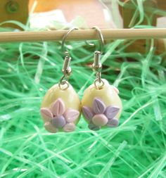 Polymer Clay Easter Earrings - Yellow Lampwork Style Eggs - Easter Jewelry on Etsy, $10.00
