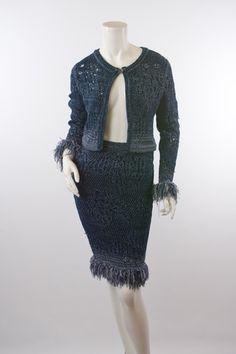 CHRISTIAN DIOR Knit Jacket & Skirt Sz38