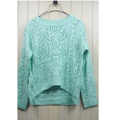 Sweet Style Scoop Neck Flower Openwork Long Sleeve Knitting Sweater For Women (LIGHT GREEN,ONE SIZE) China Wholesale - Sammydress.com