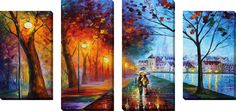 City By The Lake by Leonid Afremov 4 Piece Painting Print on Wrapped Canvas Set