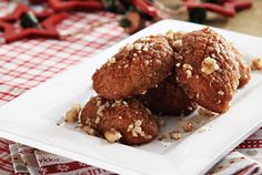Melomakarona (Christmas treat with honey)    Melomakarona are delicious Greek cookies with honey and walnuts that are popular around the holidays.    Find the recipe at:  http://www.facebook.com/photo.php?fbid=338835029557637=44868f0ed7