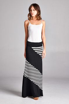 For work or play, this maxi skirt is sure to delight. Pair with a white tank and sandals for a fun look. Rayon Blend. Made in the USA. Fits: Small 2/4, Medium 6/8, Large 10/12, XL 14/16, XXL 18, XXXL