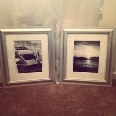 Spray painted frames. Frames were free. Developed pictures for $5.