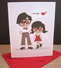 Love Card Geek Nerd Anniversary Blank Inside Recycled by maddesign, $4.00