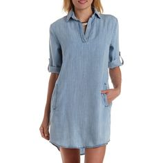 Charlotte Russe Chambray Collared Denim Chambray Shift Dress by... ($39) ❤ liked on Polyvore