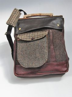 d3c449f858 Eco-friendly upcycled rucksack made from a vintage Harris Tweed jacket and  genuine leather. We love making these patchwork bags and using  complementary ...