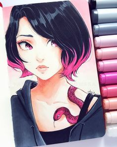 Pin by trinity chow on drawings , Copic Marker Art, Copic Art, Copic Drawings, Drawing Sketches, Beautiful Drawings, Cute Drawings, Pretty Art, Cute Art, Manga Art