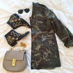 Gold + Camo ❤️ / Our 'Alexa' @shop_sincerelyjules jacket! www.shopsincerelyjules.com