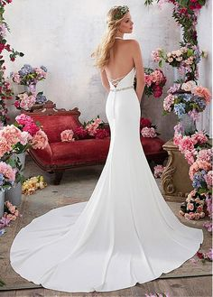 Buy discount Simple Acetate Satin Halter Neckline Mermaid Wedding Dresses With Beadings at Dressilyme.com