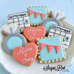 sugar cookies royal icing custom bunting banner personalized custom initials wedding engagement ring calendar heart frederick md maryland