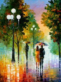 Evening Stroll Under The Rain - Leonid Afremov
