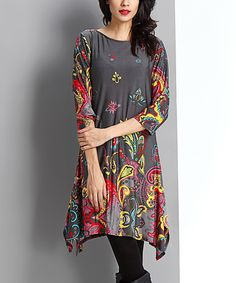 Another great find on #zulily! Charcoal Floral Paisley Handkerchief Dress - Women #zulilyfinds