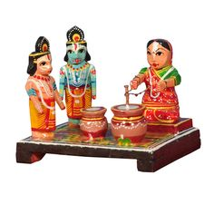 Adorable krishna& Balarama Watching  Lady Butter Churning