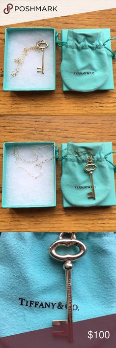 """Tiffany &Co. Key Pendant Brilliant beacons of optimism and hope, Tiffany Keys are radiant symbols of a bright future. This classic pendant exudes timeless elegance. Sterling silver 2"""" long On a 17"""" chain In preloved condition Tiffany & Co. Jewelry Necklaces"""