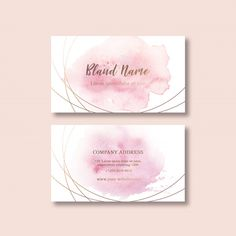 Business card template with watercolor brustrokes Free Psd Free Business Card Templates, Business Card Design, New Instagram Logo, Gift Voucher Design, Watercolor Business Cards, Flyer Design, Corporate Design, Brochure Design, Design Design