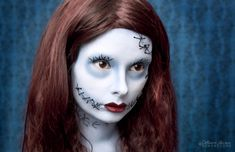 Sally makeup for halloween holidays-are-a-comin Halloween Rocks, Halloween Cosplay, Halloween Costumes For Kids, Halloween Make Up, Halloween Town, Christmas Makeup, Christmas Costumes, Amazing Halloween Makeup, Halloween Face Makeup