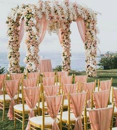 rose gold beach wedding arch / http://www.himisspuff.com/rose-gold-metallic-wedding-color-ideas/