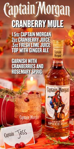 Fill your glass with ice, oz Captain Morgan Original Spiced Rum, oz fresh lime juice, and 2 oz cranberry juice. Top with ginger ale, garnish with rosemary sprig and cranberries. Party Drinks Alcohol, Alcohol Drink Recipes, Cocktail Drinks, Cocktail Recipes, Alcoholic Drinks, Vodka Cocktails, Beverages, Martinis, Spiced Rum Drinks