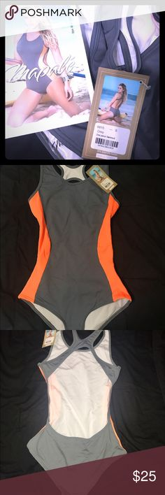One piece Swimsuit BNWT one piece swimsuit. Monokini. Size small and it fits true to size small. 92%Nylon 8% Elastan. Grey and bright orange colored. No free shipping thanks! mapale Swim One Pieces