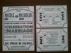 Theater Themed DIY Invitations : wedding black diy invitation invitations ivory theater Invite And Cards