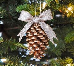 Upcycle those pinecones this year when you make the Gold Tipped Pinecone Ornament. This Christmas ornament craft looks store-bought when finished, and it's so simple to make.