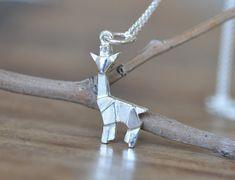 Sterling Silver Origami Giraffe Necklace, Gold Giraffe Necklace, Silver Giraffe…