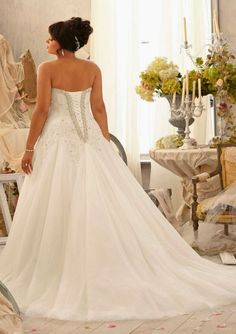 Plus Size Corset wedding  Dresses | Style 3158 Alencon Lace Appliques on Tulle with Crystal Beaded Trim ...