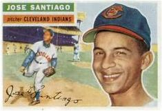 DEATH: September 4, 1928 – October 9, 2018: Jose Santiago: RHP from Coamo, PR,1947-59//    Cleveland Indians (1954–1955)Kansas City Athletics (1956)//pitched on five straight pennant-winning teams in the minors//record of 3-2 and a 4.66 ERA during his 56 innings in the big leagues.Wound up with a minor league career record of 112-83 and a 3.22 ERA while pitching 1,503 innings. Playing For Keeps, Kids Playing, Mlb Players, Trading Card Database, Cleveland Indians, I Card, Baseball Cards, Sports, Kansas City