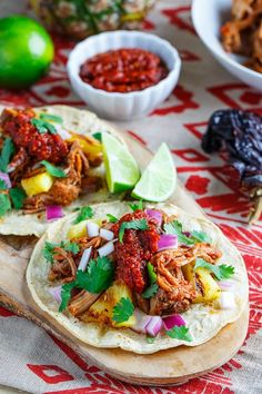 "Tacos al Pastor {Closet Cooking}..Slow Cooker..."" Al pastor is a Mexican pork that is marinated in chilies and pineapple, layered and roasted on a vertical rotisserie similar to shawarma.  I like to use this slow cooker version that gives all of the flavours of al pastor using a method that is much easier to do at home."""