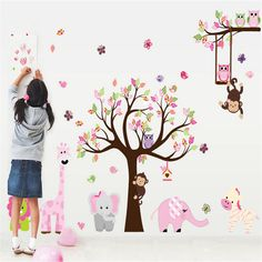 Girls Room Wall Decals - Butterflies Birds Owls Zoo Animals With Tree Stickers - Perfect Removable Wall Art for Growing Kids or Nursery Decoration - Easy Peel and Stick on Smooth Surfaces - Easy Cleaning Adhesive-Best - Easy Cleaning Wall Stickers Animals, Animal Wall Decals, Nursery Wall Stickers, Removable Wall Stickers, Kids Wall Decals, Wall Stickers Home Decor, Wall Stickers Murals, Sticker Mural, Sticker Vinyl