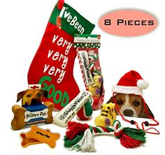 Dog Christmas Stocking Toys and More Bundle of 8 Pieces 1 Stocking filled Dog Toys 1 Treat Storage Box 1 Cute Dog Santa Hat 1 Large StockingPerfect Christmas Gift for your fur baby SM Dogs RED -- Read more  at the image link. This is an Amazon Affiliate links.