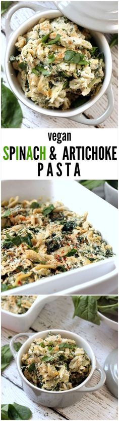 Vegan Spinach and Artichoke Pasta---A deliciously creamy and decadent pasta bake that tastes just like spinach and artichoke dip without all the guilt! This vegan gluten-free kid-friendly recipe will have the whole family asking for seconds.