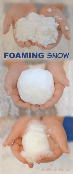 FOAMING SNOW is unlike any other snow we have made.  It doesn't bubble like erupting snow.  It FOAMS in a very different way that is mesmerizing and SO COOL! { It is cold, fluffy, soft, mold-able, and irresistible to touch}
