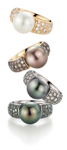 Pearls are among the most beautiful and timeless gems, and they can mean so much when given or received as a gift. Pearl rings, in particular, can be a wonderful way to make a unique and stunning f… Pearl Diamond, Pearl Ring, Pearl Jewelry, Jewelry Box, Jewelry Rings, Jewelry Accessories, Fine Jewelry, Jewelry Design, Pearl Earrings