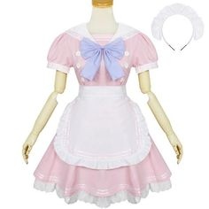 Japanese pink and white bow tie maid dress SD00877